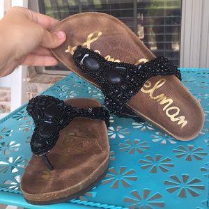 Sam Edelman Annalee Beaded Leather Cork Sandals 6M
